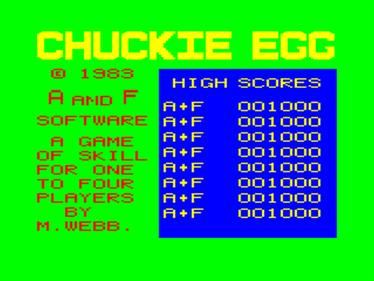 Chuckie Egg - Screenshot - Game Title