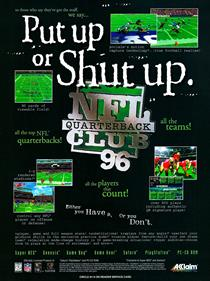 NFL Quarterback Club 96 - Advertisement Flyer - Front