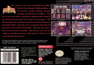 Mighty Morphin Power Rangers: The Fighting Edition - Box - Back