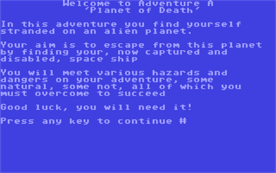 Adventure A: Planet of Death - Screenshot - Game Title