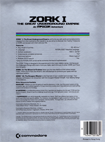 Zork I: The Great Underground Empire - Box - Back