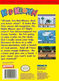 Kid Klown in Night Mayor World - Box - Back
