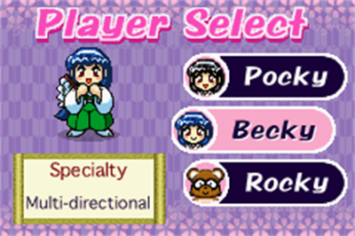 Pocky & Rocky with Becky - Screenshot - Game Select