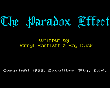 The Paradox Effect - Screenshot - Game Title