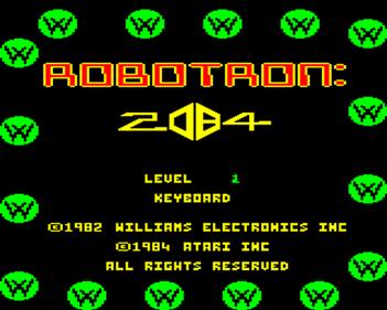 Robotron: 2084 - Screenshot - Game Title