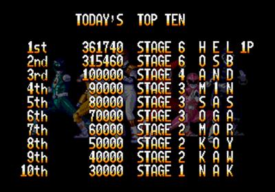 Mighty Morphin Power Rangers: The Movie - Screenshot - High Scores