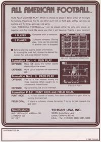 All American Football - Advertisement Flyer - Back