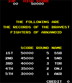 Tournament Arkanoid - Screenshot - High Scores
