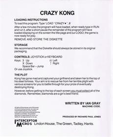 Crazy Kong - Box - Back