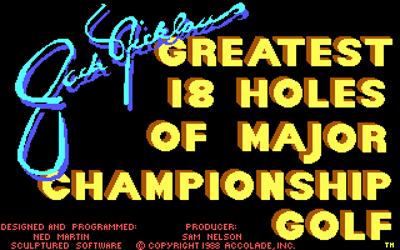 Jack Nicklaus' Greatest 18 Holes of Major Championship Golf - Screenshot - Game Title